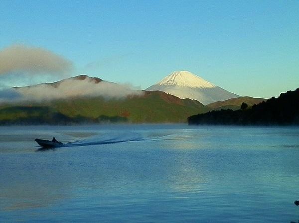 富士山と漁師